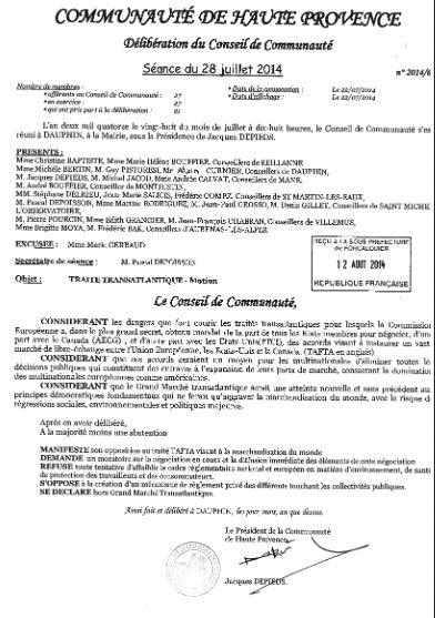 Communauté de Haute Provence motion tafta