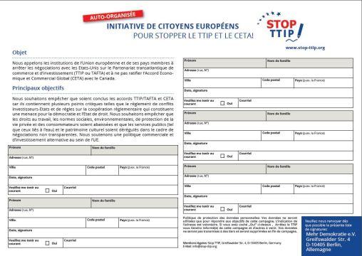 ICE auto organisee StopTAFTA CETA petition papier