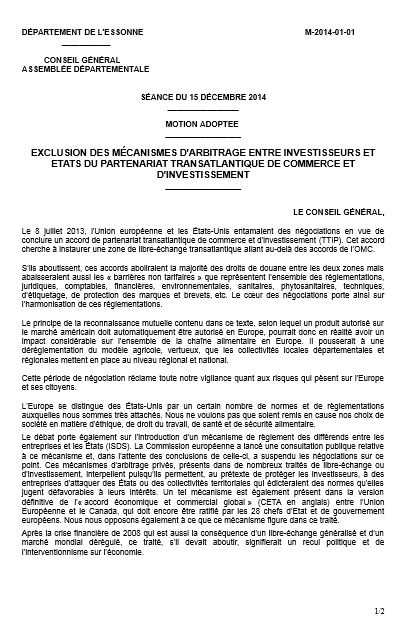 Essonne 91 motion tafta 1