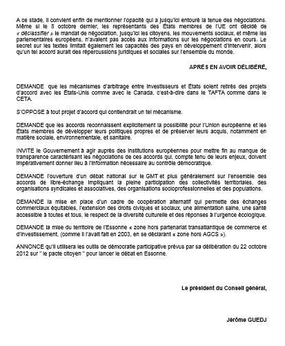 Essonne 91 motion tafta 2