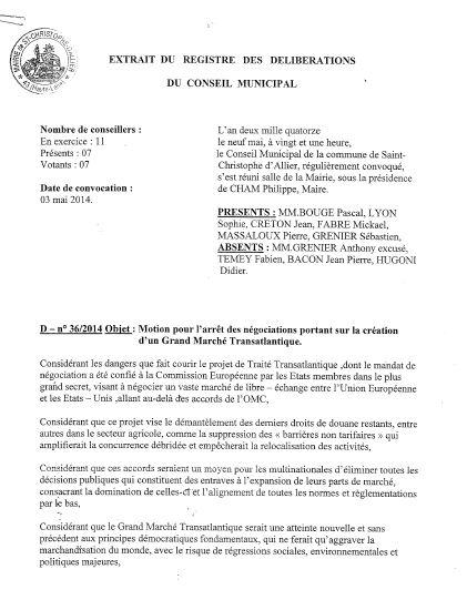 Saint Christophe d'Allier motion tafta 1