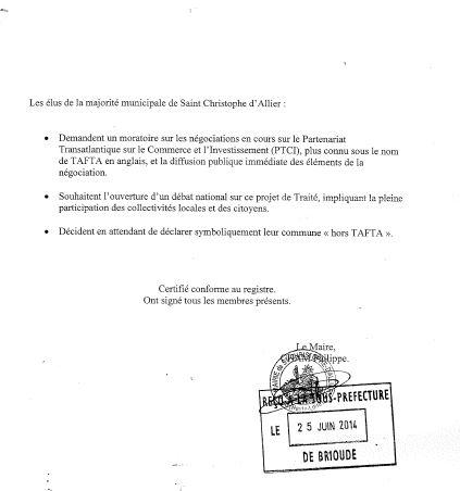 Saint Christophe d'Allier motion tafta 2